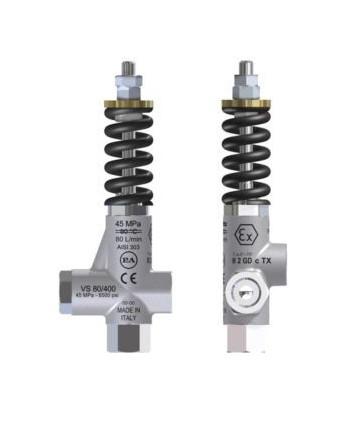 Válvula de seguridad VS 80/400 ATEX AISI 303 IN G1/2H Bypass G1/2H