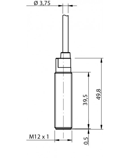 Inductive 3/D12 detection 4mm cable 2m-flush mountable